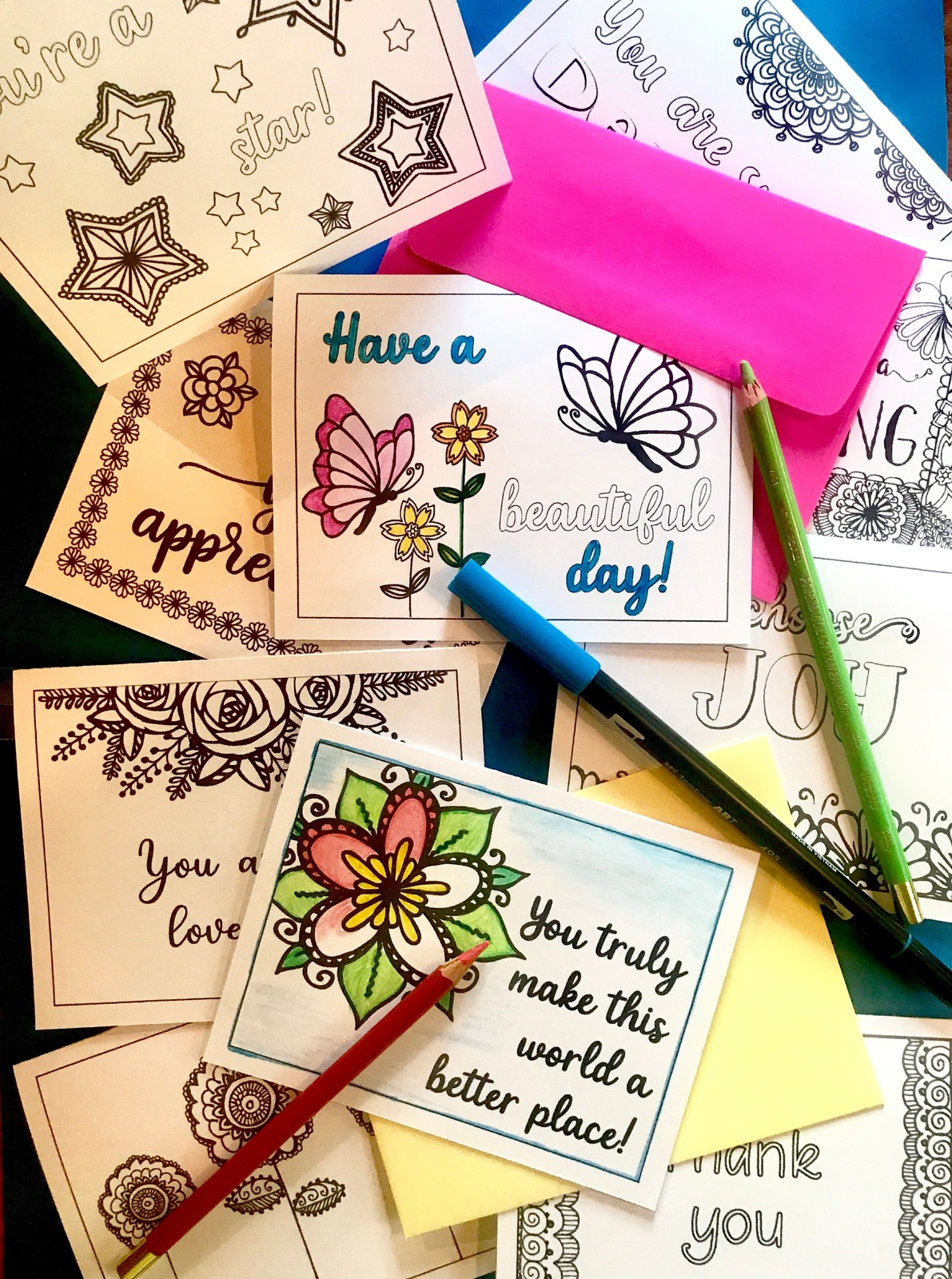 Printable Encouragement Coloring Cards by JoDitt Designs